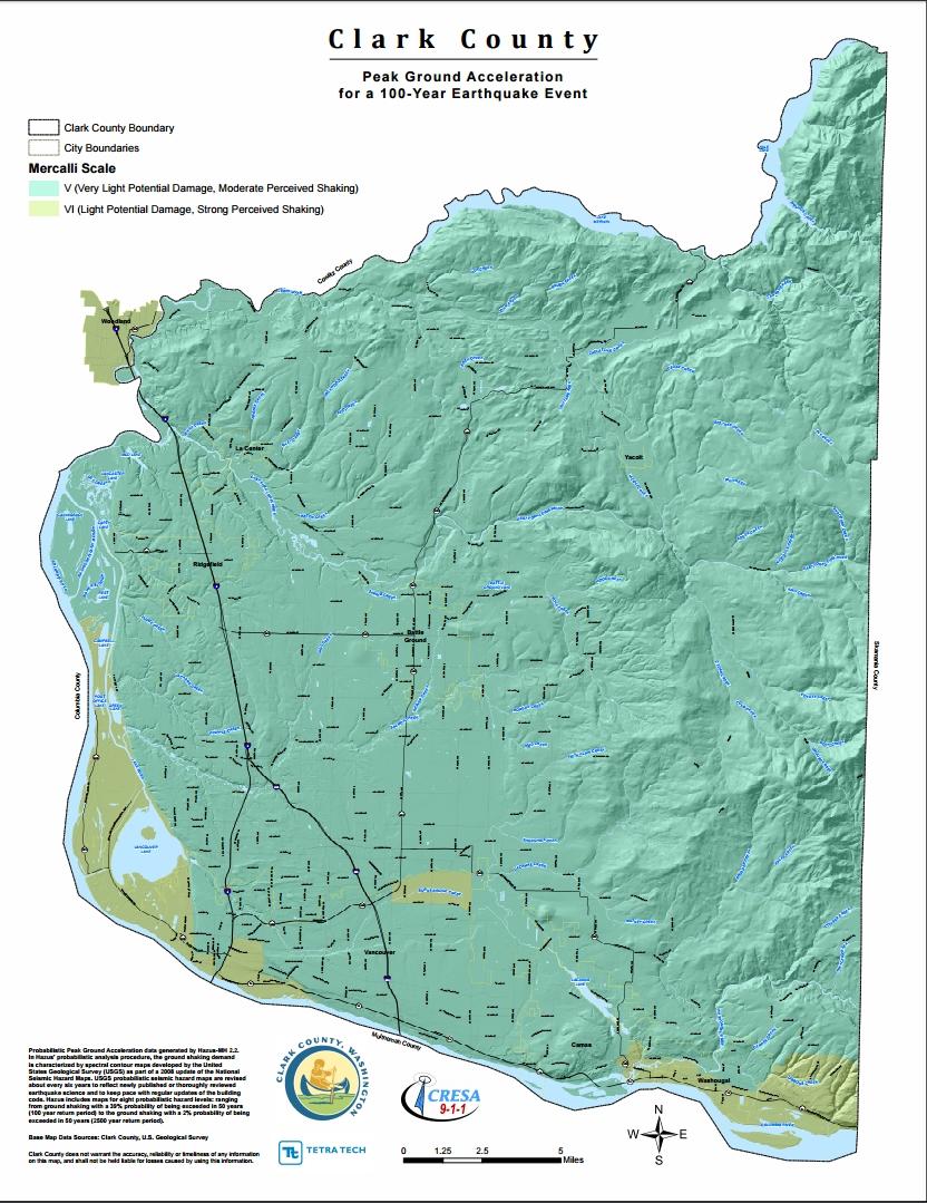 Clark County Peak Ground Acceleration 100 Yr EQ
