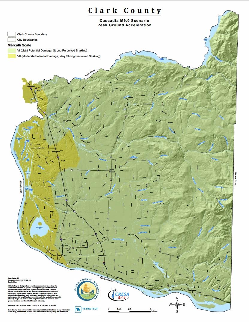 Clark County Cascadia9.0 Peak Ground Acceleration