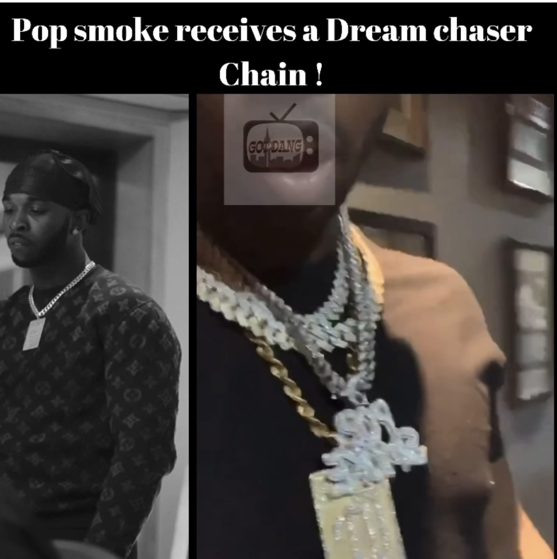 Pop smoke was Gifted a DreamChasers chain !