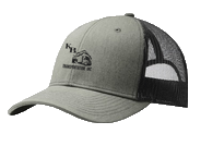Grey and black trucker hat with K&B logo