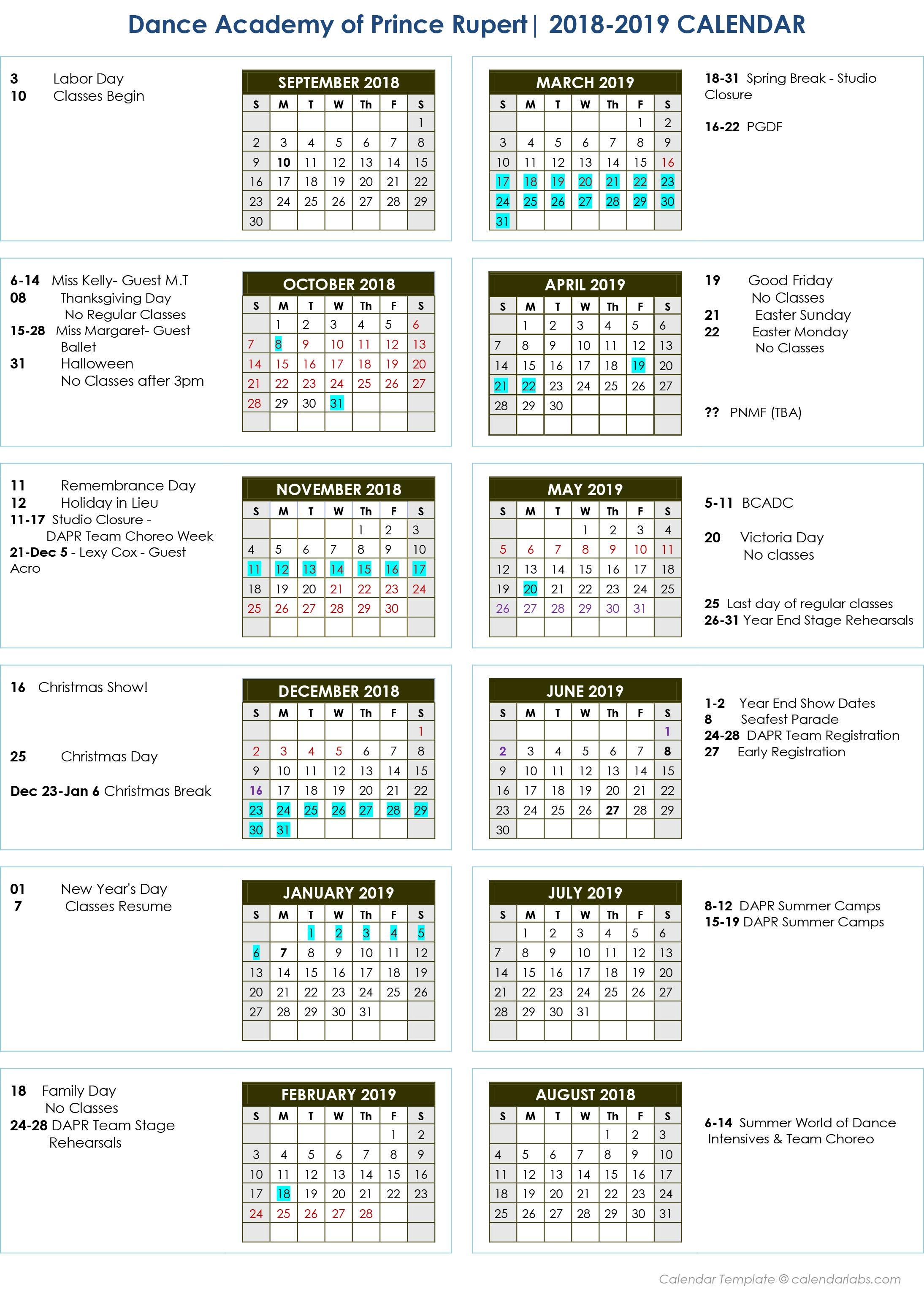 2019 DAPR Events Calendar
