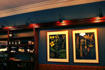 two paintings with accent lights