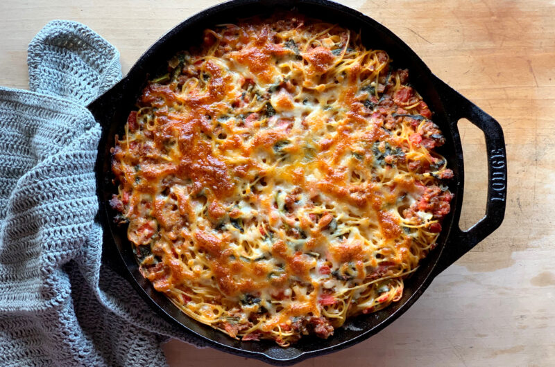 Cast Iron Spinach and Spaghetti Bake