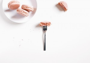 Laudree-rose-macaroon-food-on-fork