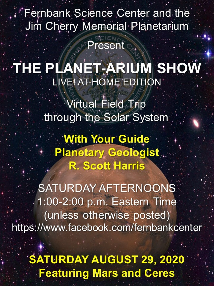 The Planet-arium Show; Saturday afternoons 1:00 - 2:00 pm; https://www.facebook.com/fernbankcenter