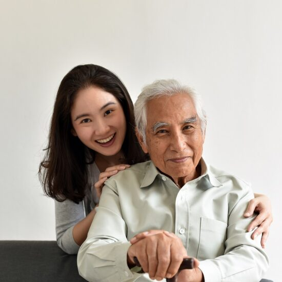 Asian senior father and smiling daughter, Happy family relationship, Elderly home nursing care, Happy retirement concept.