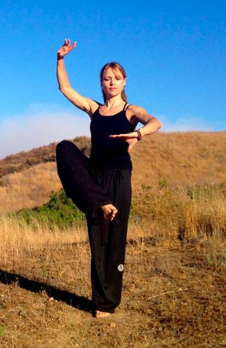 Beth Leone demonstrates Tai Chi Crane Flashes Wings pose