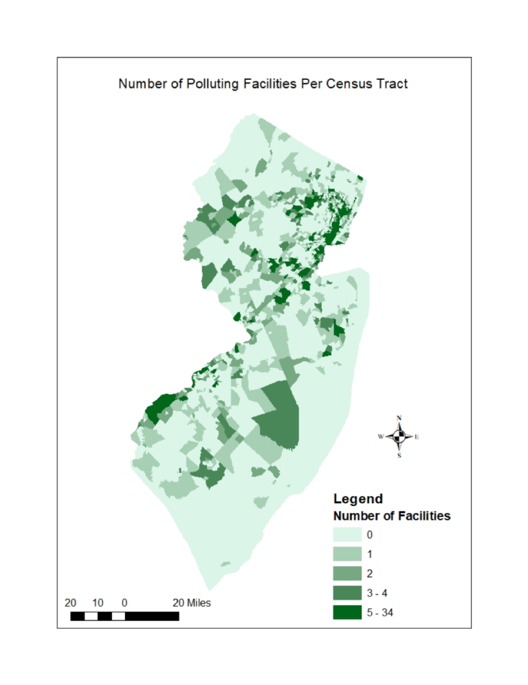 Number of Polluting Facilities Per Census Tract in New Jersey