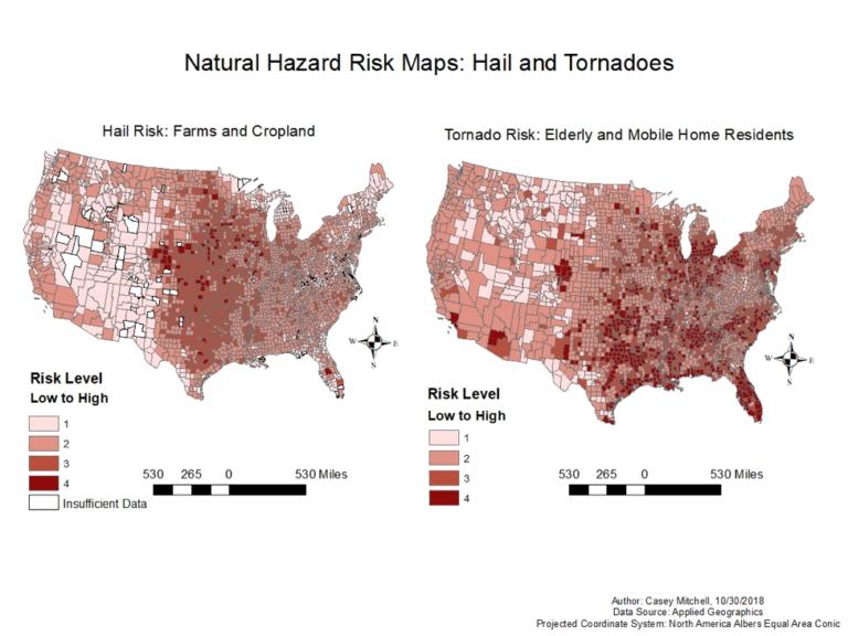 Natural Hazard Risk Maps: Hail and Tornadoes