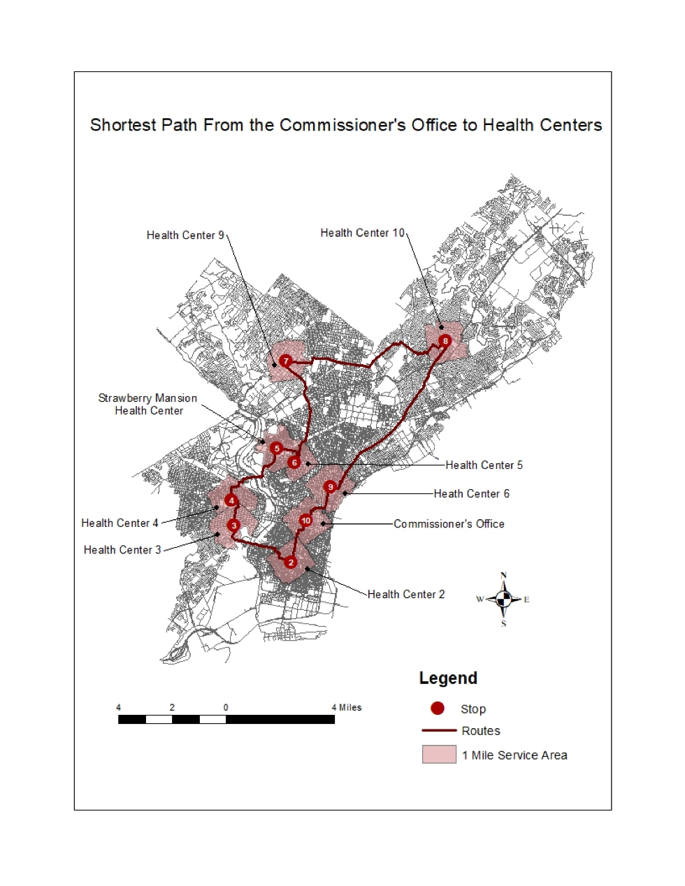 Shortest Path From the Commissioner's Office to Health Centers