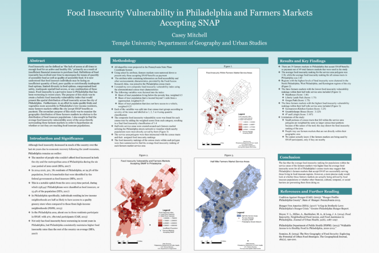 Food Insecurity Vulnerability in Philadelphia and Farmers Markets Accepting SNAP
