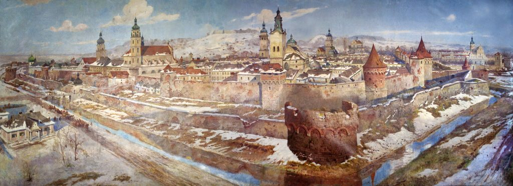 The painting of Lviv with the river Poltva, 1929
