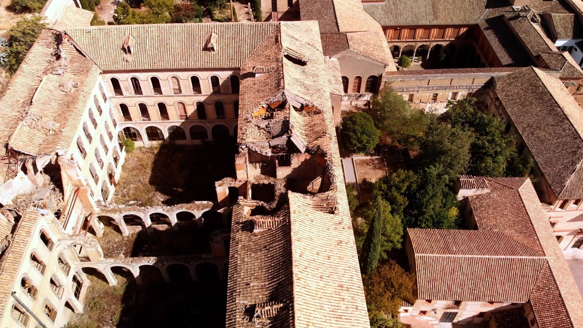 The destroyed part of the Sacromonte Abbey in Granada