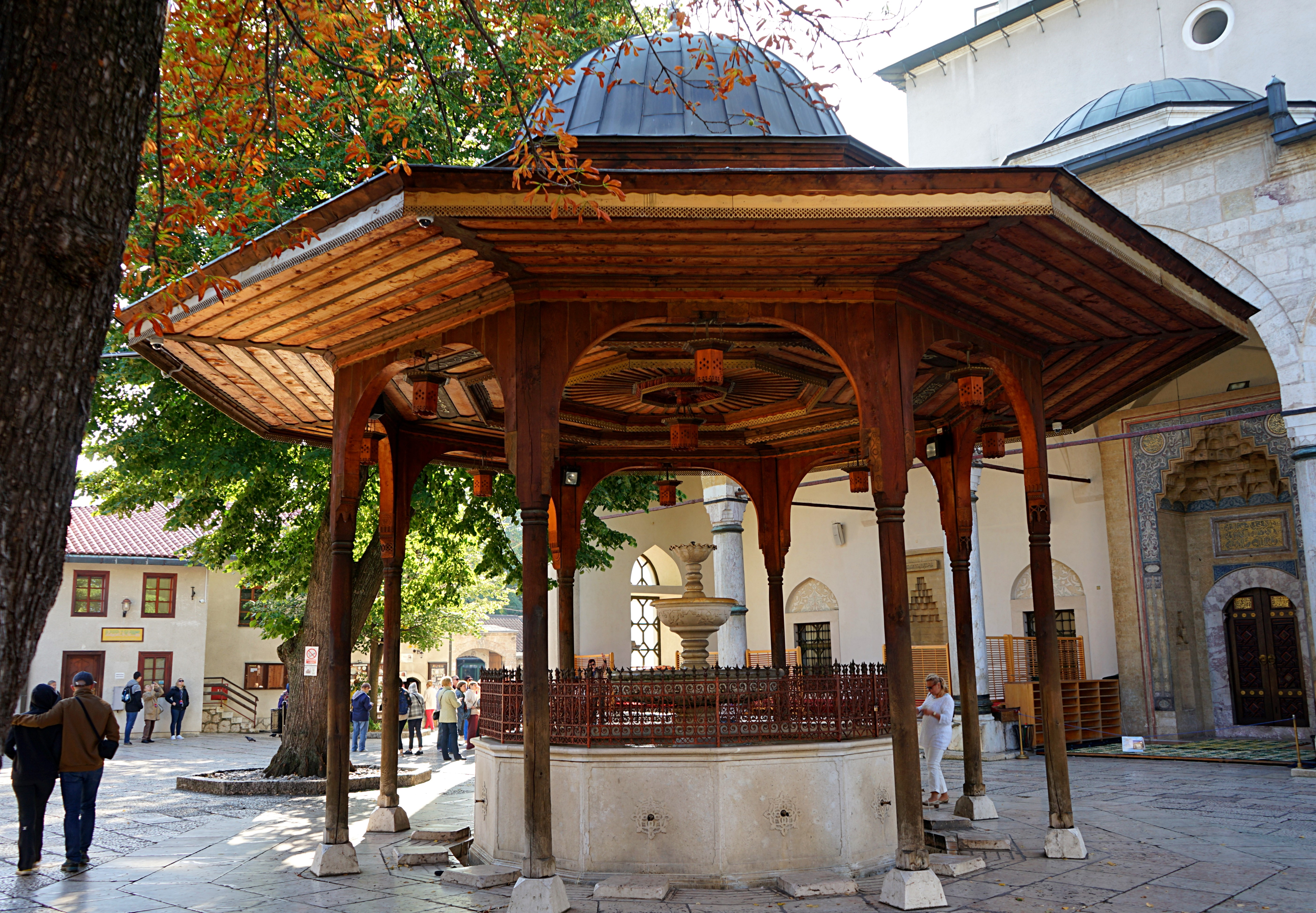 Shadrvan is a wooden place for washing before prayer in Sarajevo