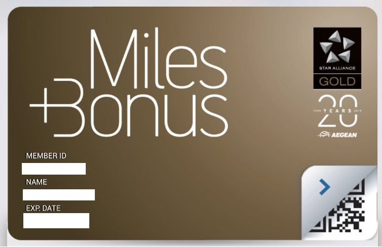 Aegean Airlines gold card. A Frequent Flyer Program