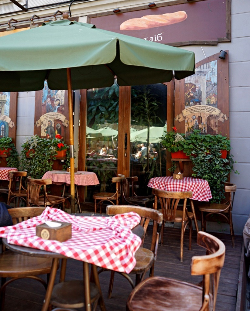 Trout bread and wine terrace. One of the themed restaurants in Lviv