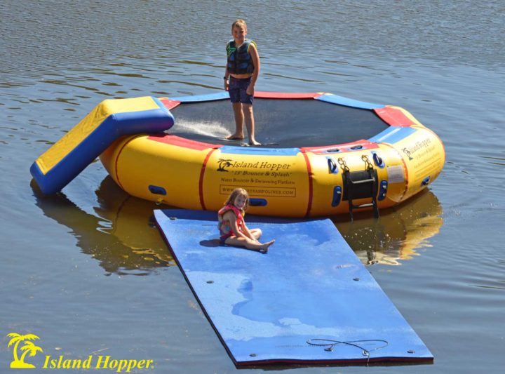 13 foot bounce & splash water bouncer with slide and water mat