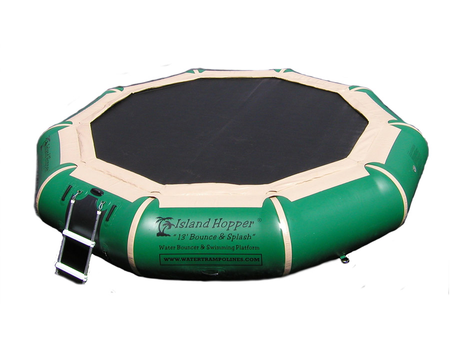 13 Foot Island Hopper Bounce N Splash Water Trampoline in Natural Green