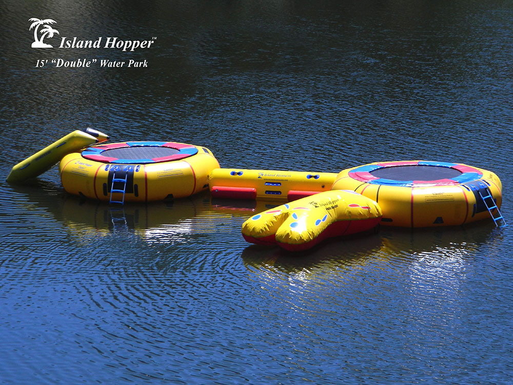 15 Foot Island Hopper Classic Double Water Park water trampoline set