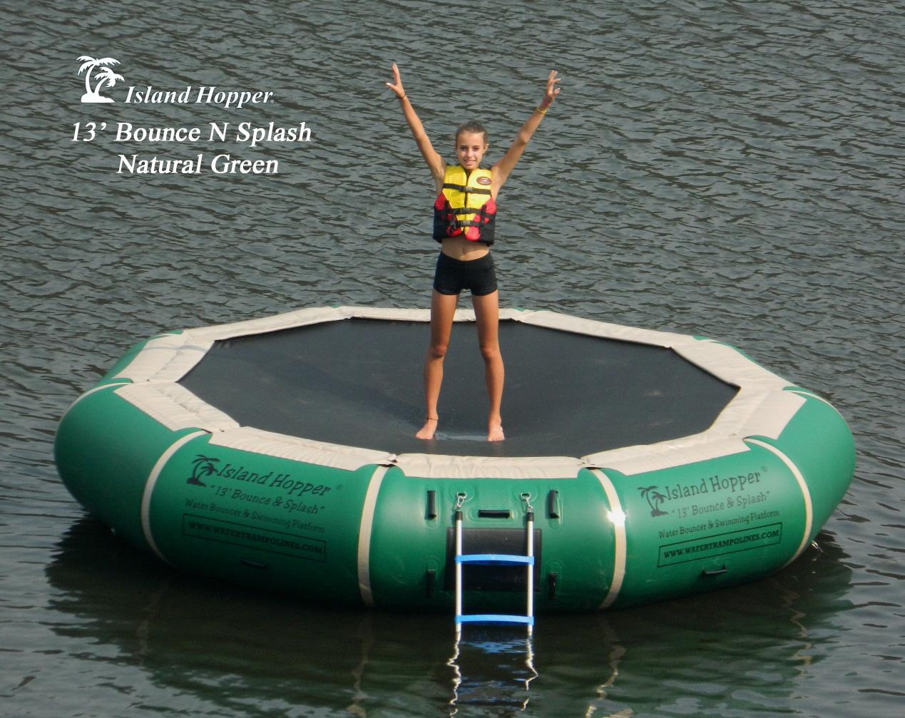 13 Foot Island Hopper Bounce N Splash Water Trampoline in Natural Green