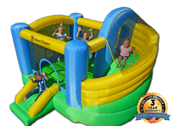 curved double slide bounce house