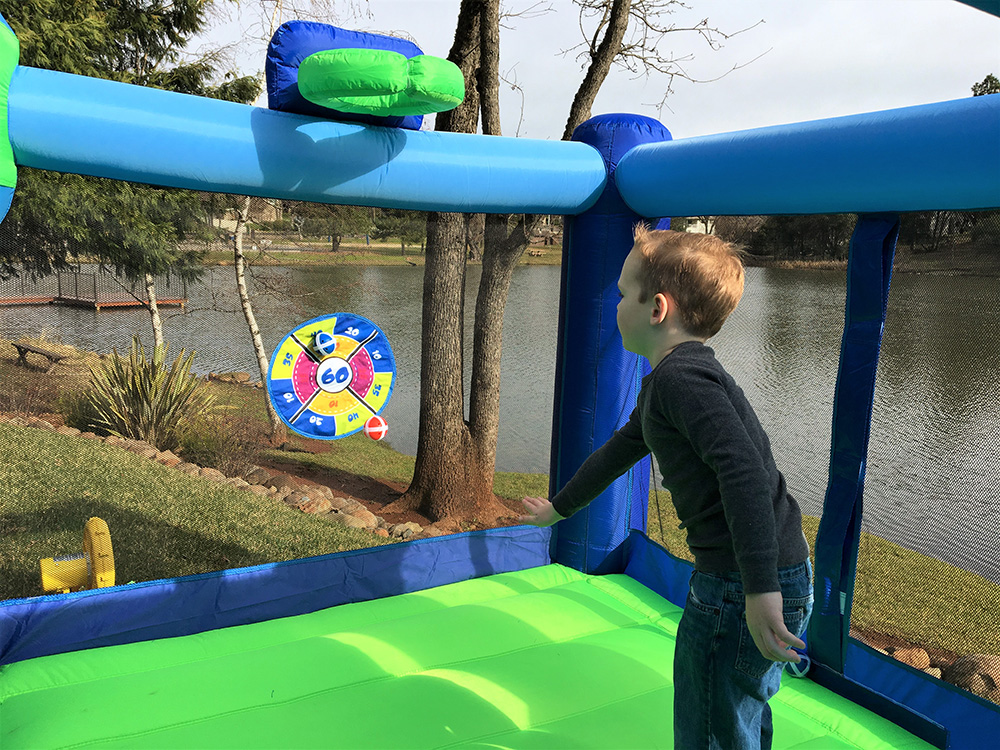 Shady Game Room Inflatable Fun House with Target Ball Game