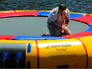 Water Trampoline Pad And Ladder Installation