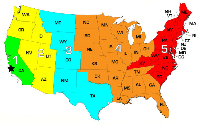 Map Of Shipping Zones