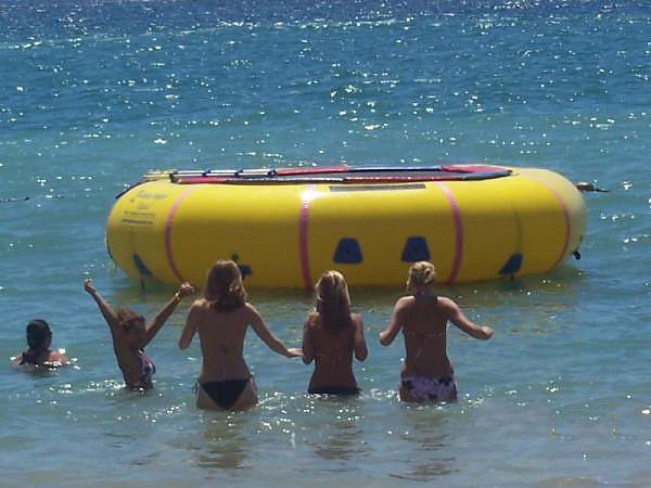 commercial beach operations with island hopper water trampoline