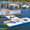 island buddy water platforms off side of pontoon boat