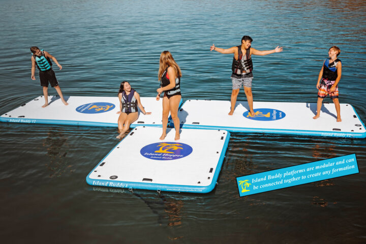 12 foot island buddy water platform connects together