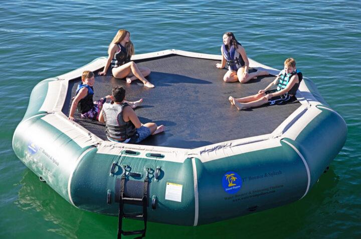 17 foot bounce n splash natural green water trampoline