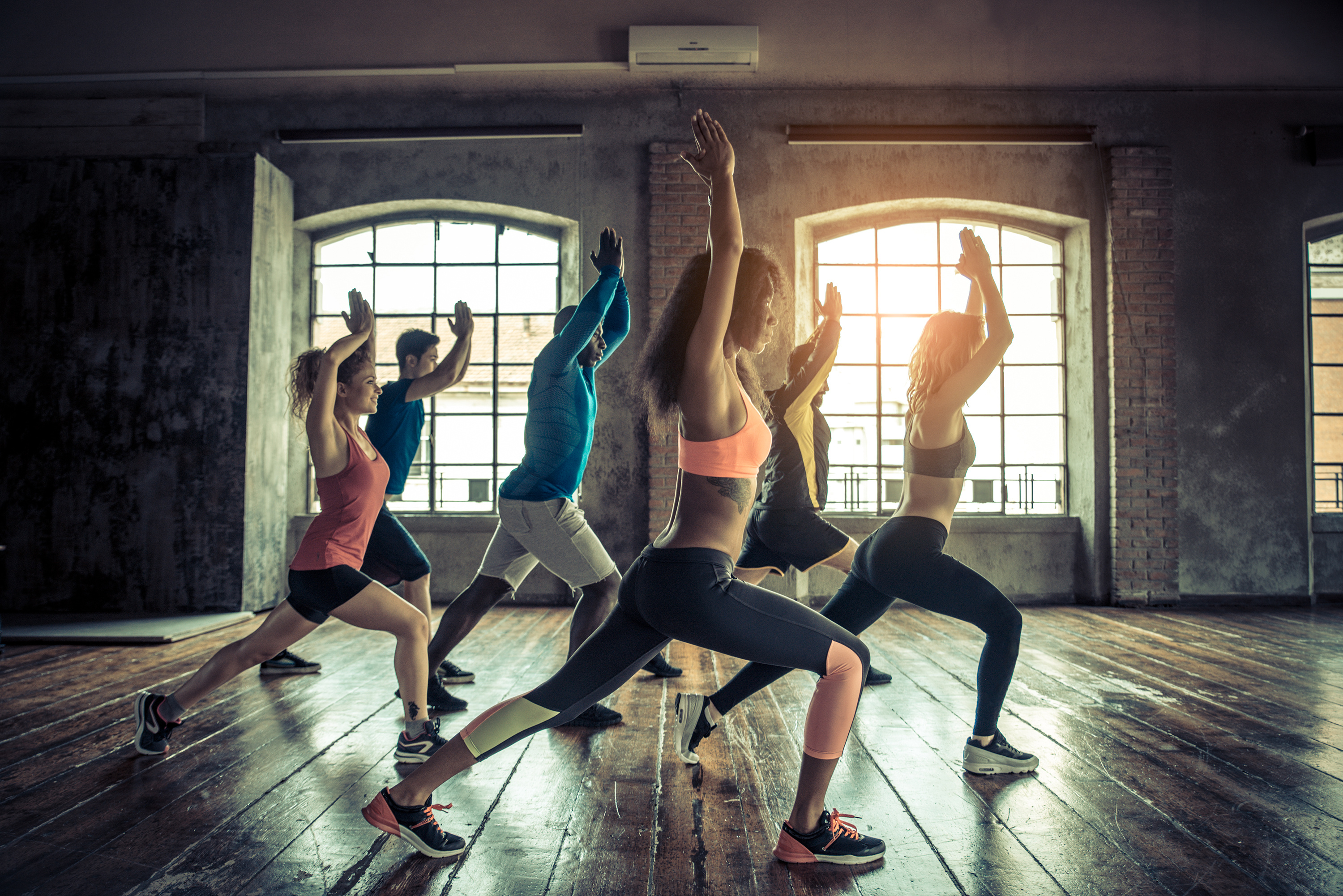 Yoga practicing group