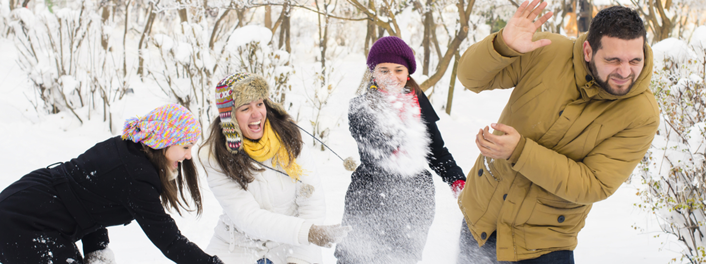 people playing with snow