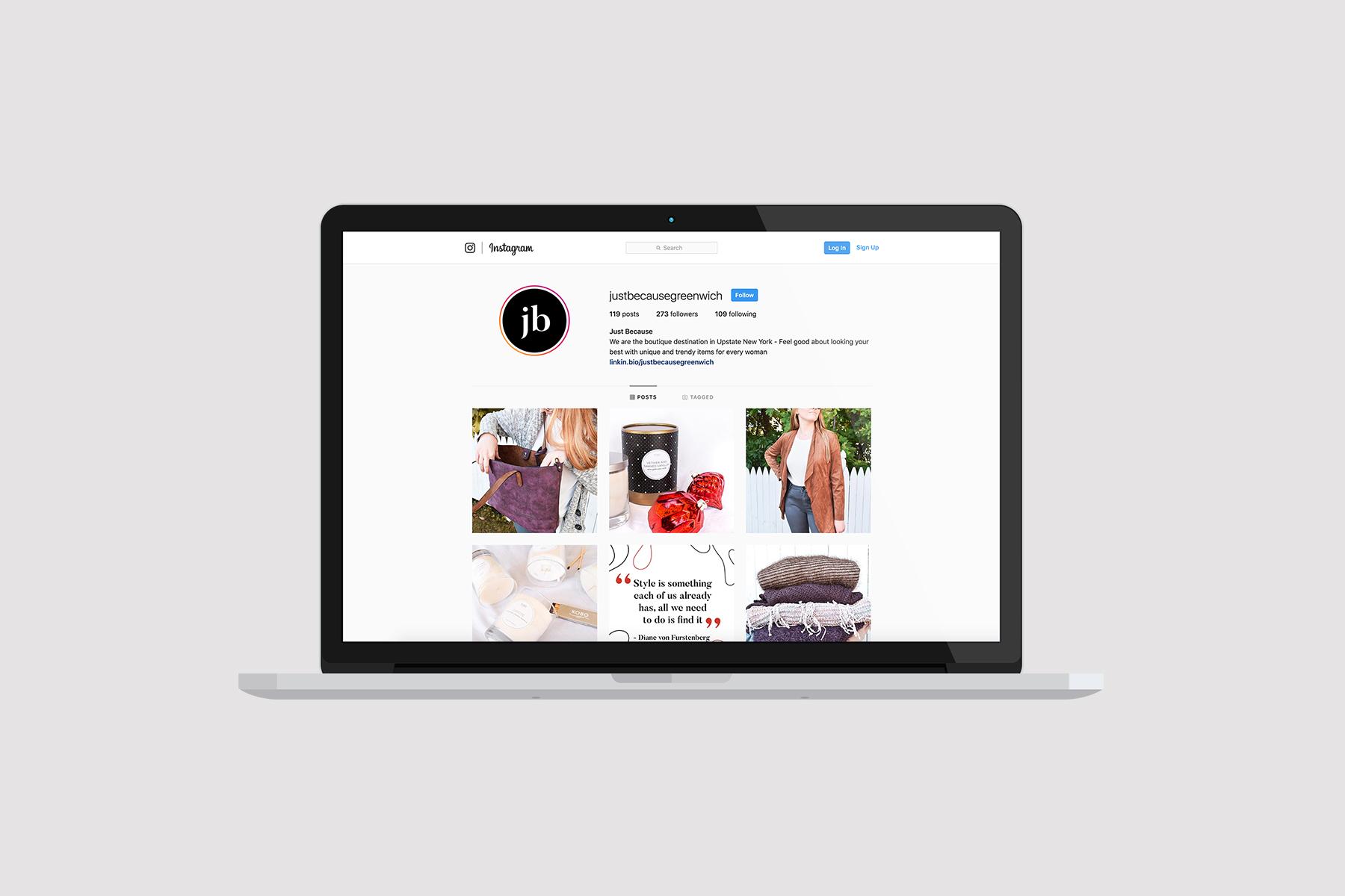 MacBook with social media Instagram profile