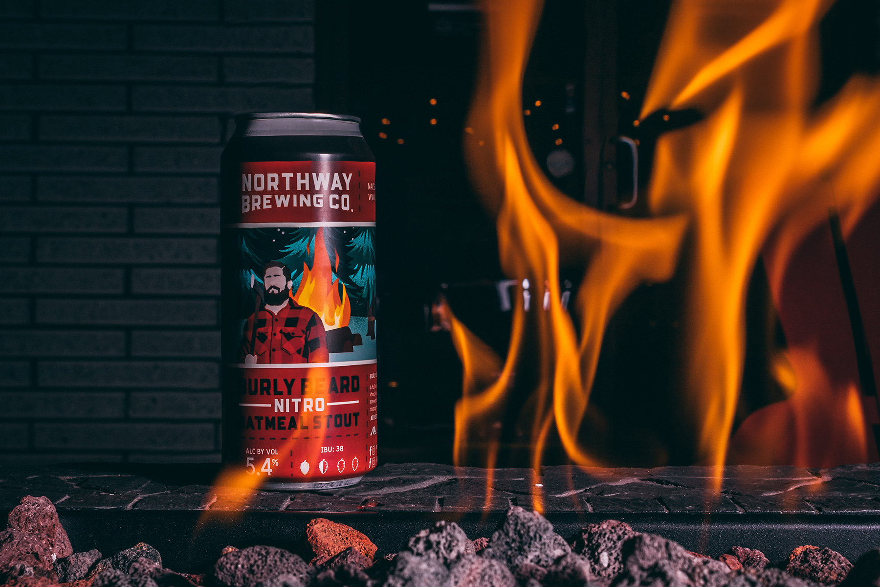 Beer packaging design on can by flames