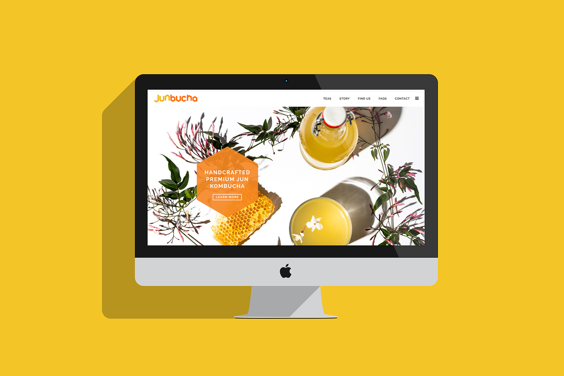 Website header web dev on iMac