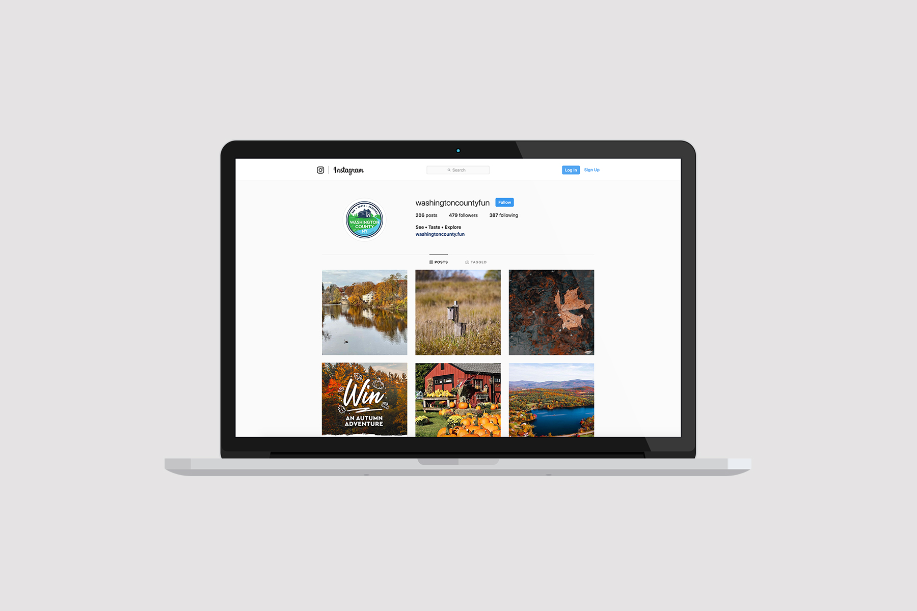content agency MacBook with social media instagram page
