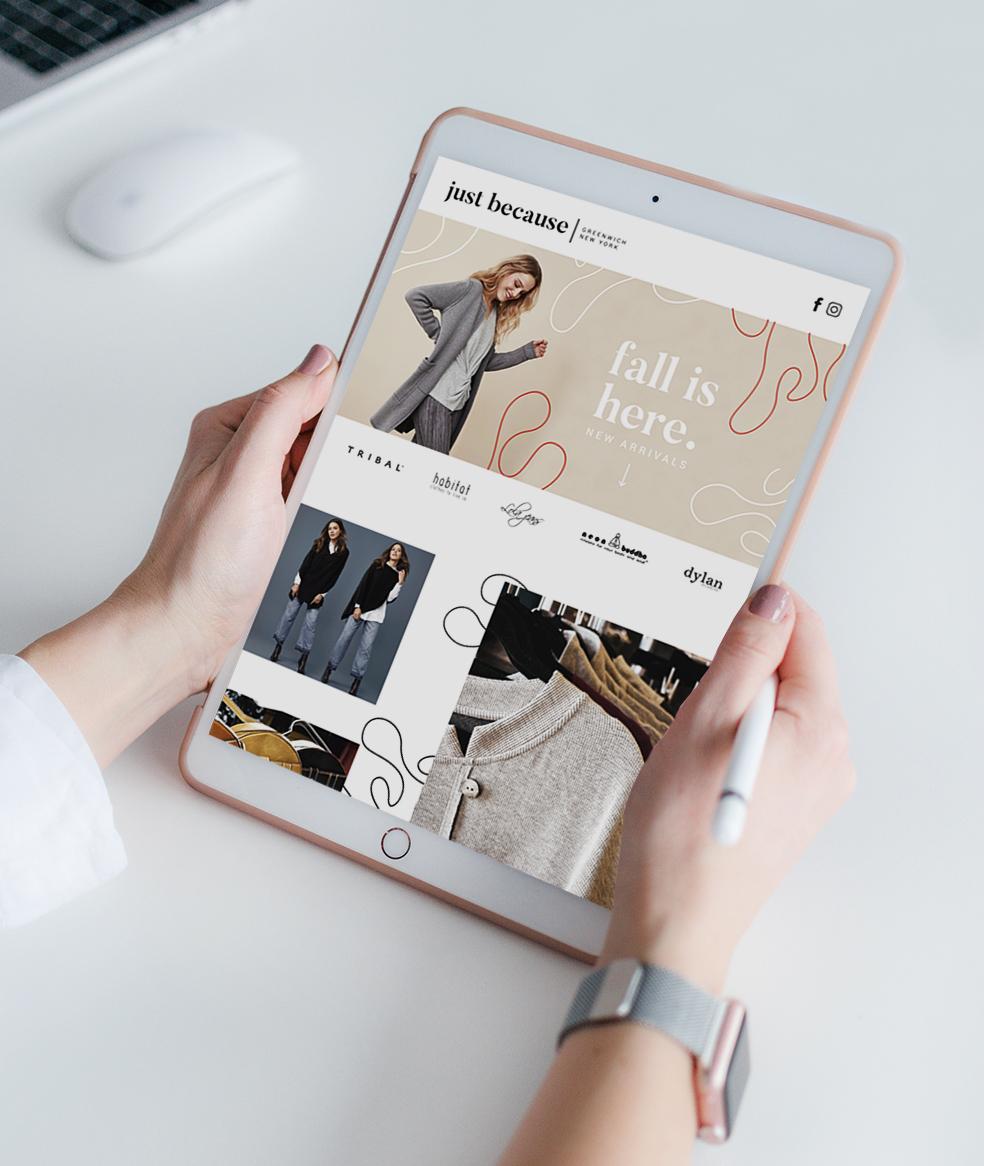 Woman reading a social media agency email on an iPad