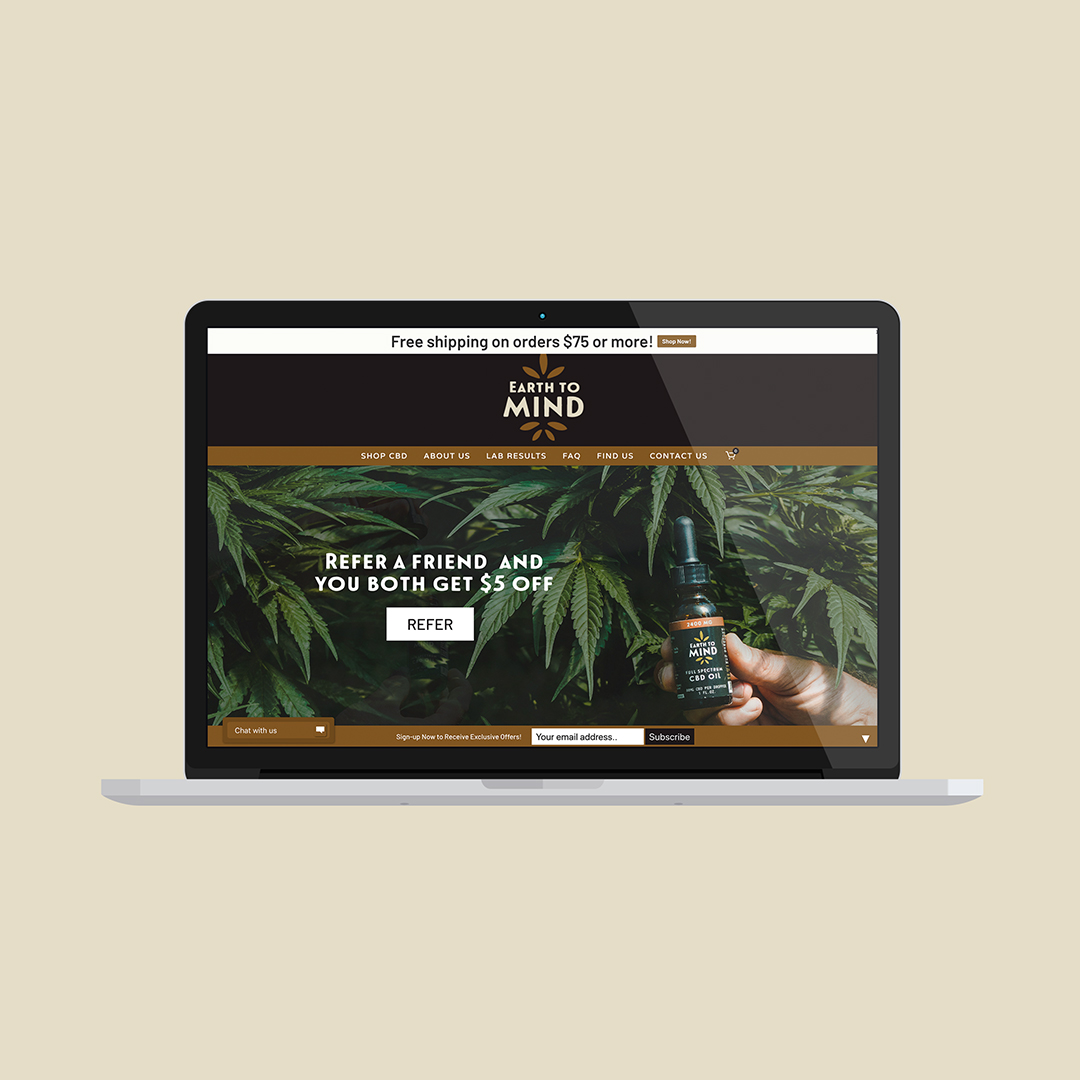 CBD website design fo Earth to Mind