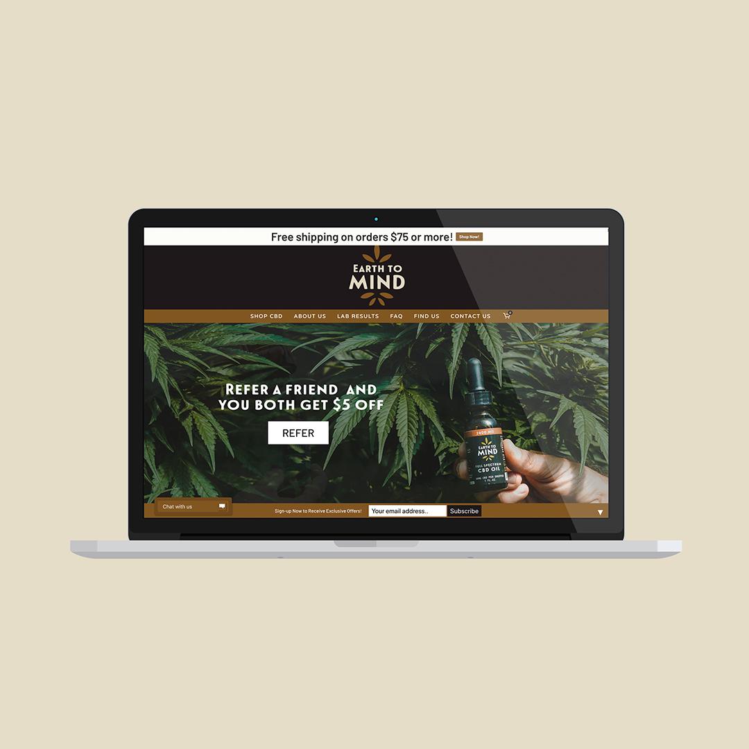 CBD website design fo Earth to Mind