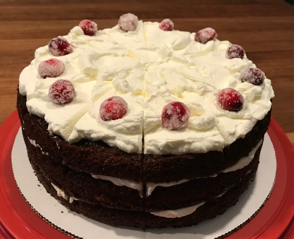 Gingerbread Cake with mascarpone frosting and sugared cranberries