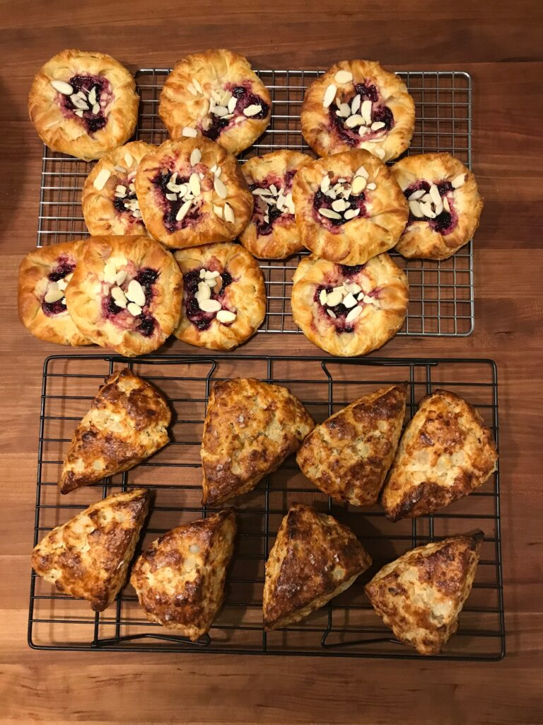 .  Raspberry Almond Danish and Pear, Rosemary and Gruyere Scones