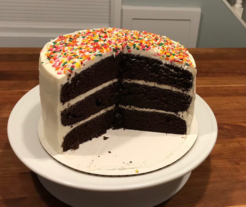My hubby's favorite – chocolate with vanilla frosting