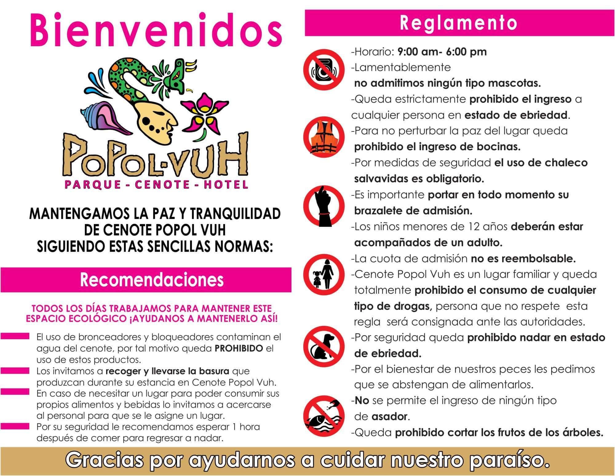 Cenote Popol Vuh Reglamento