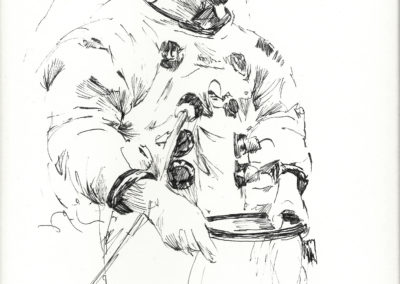 Neil Armstrong Suiting Up, 1969, pen and ink; The Chris Calle Collection.