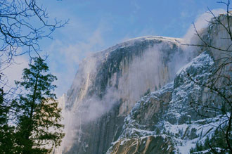Half Dome From Mirror Lake Trail, Winter, Yosemite National Park, Sierra, California, copyright 2010 David Leland Hyde.