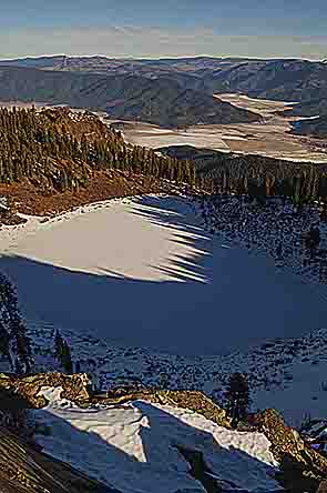 Shadow Patterns, Crystal Lake And Indian Valley From Mt. Hough, Plumas County, Northern Sierra, California, copyright 2013 David Leland Hyde.