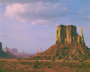 Evening Light On West Mitten Butte, Monument Valley Navajo Tribal Park, Utah-Arizona, copyright 1963 Philip Hyde. From Navajo Wildlands in the Sierra Club Exhibit Format Series. (Click on the image to see it large.)