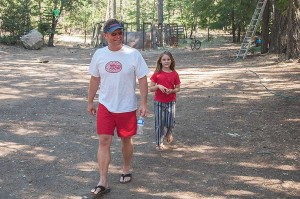 "Customary Walking and Smiling at Walking ""G"" Camp on July 4th, Northern Sierra, California by David Leland Hyde."